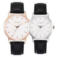 OEM Water Resistant Stainless Steel Case Leather Strap Super Thin Swiss Ronda Movement Couple Watch