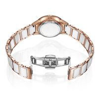 Custom logo ceramic watch lady stainless steel back water resistant watch