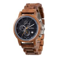 Factory Customized Design Quartz Multi-function Vague Chronograph Wood Cool Men's Watch