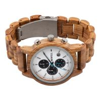 Factory Customized Design Quartz Multi-function Vague Chronograph Wood Cool Men's Watch