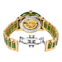 OEM luxury automatic mechanical jade watches with CZ stones for men and women