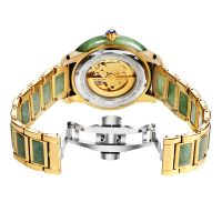 Priviate logo custom skeleton watches 304 stainless steel automatic jade wrist watches