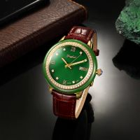 Fashion Design Jade Dial genuine leather watch luxury mechanical jade watch for couple