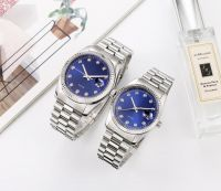 Fashion Couple Watch Stainless Steel Case And Strap Water Resistant Wristwatch
