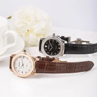 Trendy Stainless Steel Watch Genuine Leather Strap Watch Men And Women