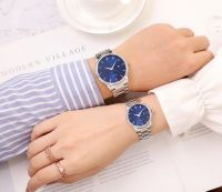 Custom logo Fashion Sunray Dial Stainless Steel Couple Wristwatch