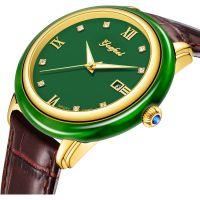 Luxury Jasper Japan Movement Stainless Steel&Jade Mechanical Watch