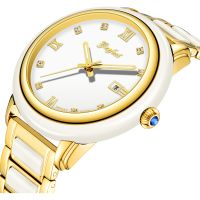 Fashion White Jade Japan Movement Mechanical Watch for Decoration