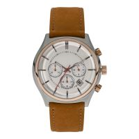 New Stainless Steel Chronograph Watch Genuine Leather Men Wrist Watch