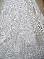 Embroidery all over fabrics/White bridal laces/Lace fabric with beaded applique for wedding dress