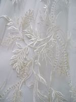 White lace fabric/newest design lace with beaded for wedding gowns