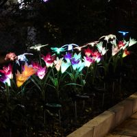 Solar Garden Decoration Stakes Artificial Glowing Flowers With LED Light