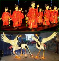 Chinese lantern festival red crane bird lantern lifelike vivid animal statue