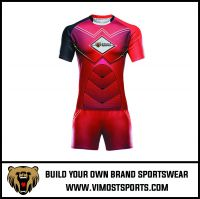 Polyester Custom Team logo Sublimation Rugby Suit jersey and short