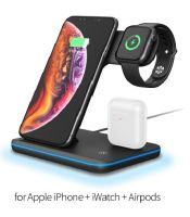 3 in 1 Wireless Charger Stand Fast Wireless Charging for iPhone Xs Max and Apple Watch and Airpods