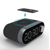 Wireless Charger Bluetooth Speaker LCD Time Display Alarm Clock USB Charger FM Radio Portable Mini Bluetooth Speaker Wireless Charging Speaker
