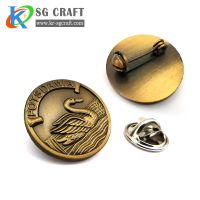 Custom round logo blank metal material tin button pin badge