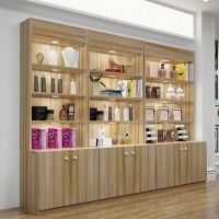 Customized wooden cosmetic display cabinets for retail makeup shop