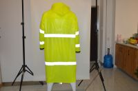 hi visibility reflective safety customized reflective fluorescent yellow raincoat for hiking raincoat PVC trench rainwear for adult