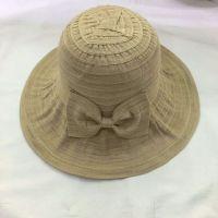 wholeseller fashion plain lady bucket sun hats with bowknot, trend women UV cut beach hat, elegant cotton hat, cheap customized fashion accessories