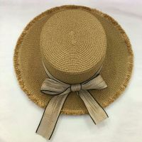 wholeseller fashion off-white lady straw sun hats with bowknot, trend women boater beach hat, elegant paper hat, recycle customized fashion accessories