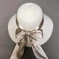 wholeseller fashion lady straw sun hats with silk bowknot, trend women floppy beach hat, elegant paper hat, recycle customized fashion accessories