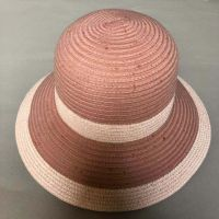 wholeseller fashion lady striped straw sun hats, trend women beach hat, elegant paper bucket hat, recycle customized fashion accessories