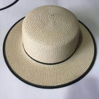 wholeseller fashion stripped lady straw sun hats with bowknot, trend women boater beach hat, elegant paper hat, recycle customized fashion accessories