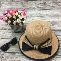 wholeseller fashion lady light pink plain straw sun hats with big bowknot, trend women beach hat, elegant paper bucket hat, recycle customized fashion accessories