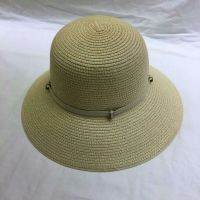 wholeseller fashion lady plain straw sun hats with beads, trend women beach hat, elegant paper bucket hat, recycle customized fashion accessories