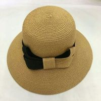 wholeseller fashion lady plain straw sun hats with big bowknot, trend women beach hat, elegant paper bucket hat, recycle customized fashion accessories