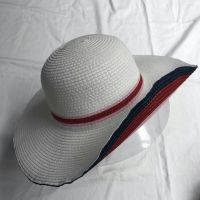 wholeseller fashion lady white stripped straw sun hats, trend cheap women floppy beach hat, elegant paper hat, recycle customized fashion accessories