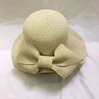 wholeseller fashion lady brown plain straw sun hats with big bowknot, trend women beach hat, elegant paper bucket hat, recycle customized fashion accessories