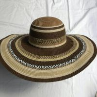 wholeseller fashion lady red striped straw sun hats, trend women beach hat, elegant paper floppy hat, recycle customized fashion accessories