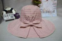 wholeseller fashion striped sky blue bucket sun hats with bowknot, trend women UV cut beach hat, elegant cotton hat, cheap customized fashion accessories