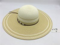 wholeseller fashion lady brown striped straw sun hats with beads, trend women beach hat, elegant paper bucket hat, recycle customized fashion accessories