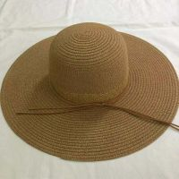 wholeseller fashion lady light brown straw sun hats, trend cheap women floppy beach hat, elegant paper hat, recycle customized fashion accessories