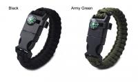 Popular Traveling Equipment Whistle Buckle Compass Bracelet , Wholesale Survival Colorful Hiking Bra