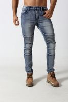 Men's middle blue skinny biker denim jogger
