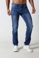 Men's Straight slim denim jeans with rips and distressed