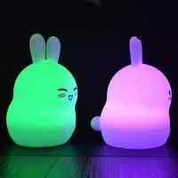 Night Light Silicone Rabbit Remote Control And Sensor Touch Changing Color Night Lamp