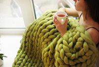 100% Merino Wool Chunky Knit Carpet, Arm Handmade Knitting Baby Throw Blanket