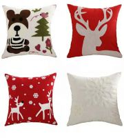 Christmas embroidery cushion cover home sofa decor