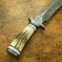 Blacksmith New Custom Handmade Damascus Steel Hunting Knife, Stag Horn Handle