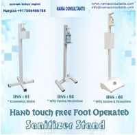 Hand touch free foot operated hand sanitizer stands