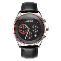 Onlyou 83063 men sport watch couple watches 3 atm waterproof genuine leather band quartz watch