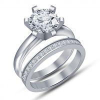 Ladies Round Diamond Engagement Wedding Band 925 Silver Bridal Set Rings 14K White Gold Finish