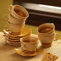 Ceramic Tea Set with Square Saucers