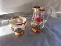 Glass Jug and Bowl with Gold Rim