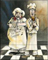 Duet Chefs Tile Mural - Decorative Tile for Kitchen & Bath